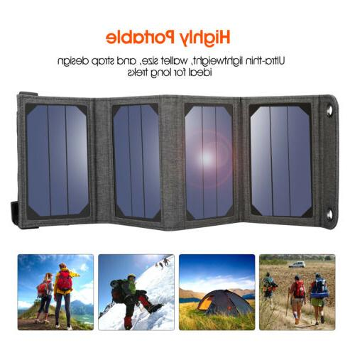 5V Foldable Solar Battery Charger f. Hiking Camping