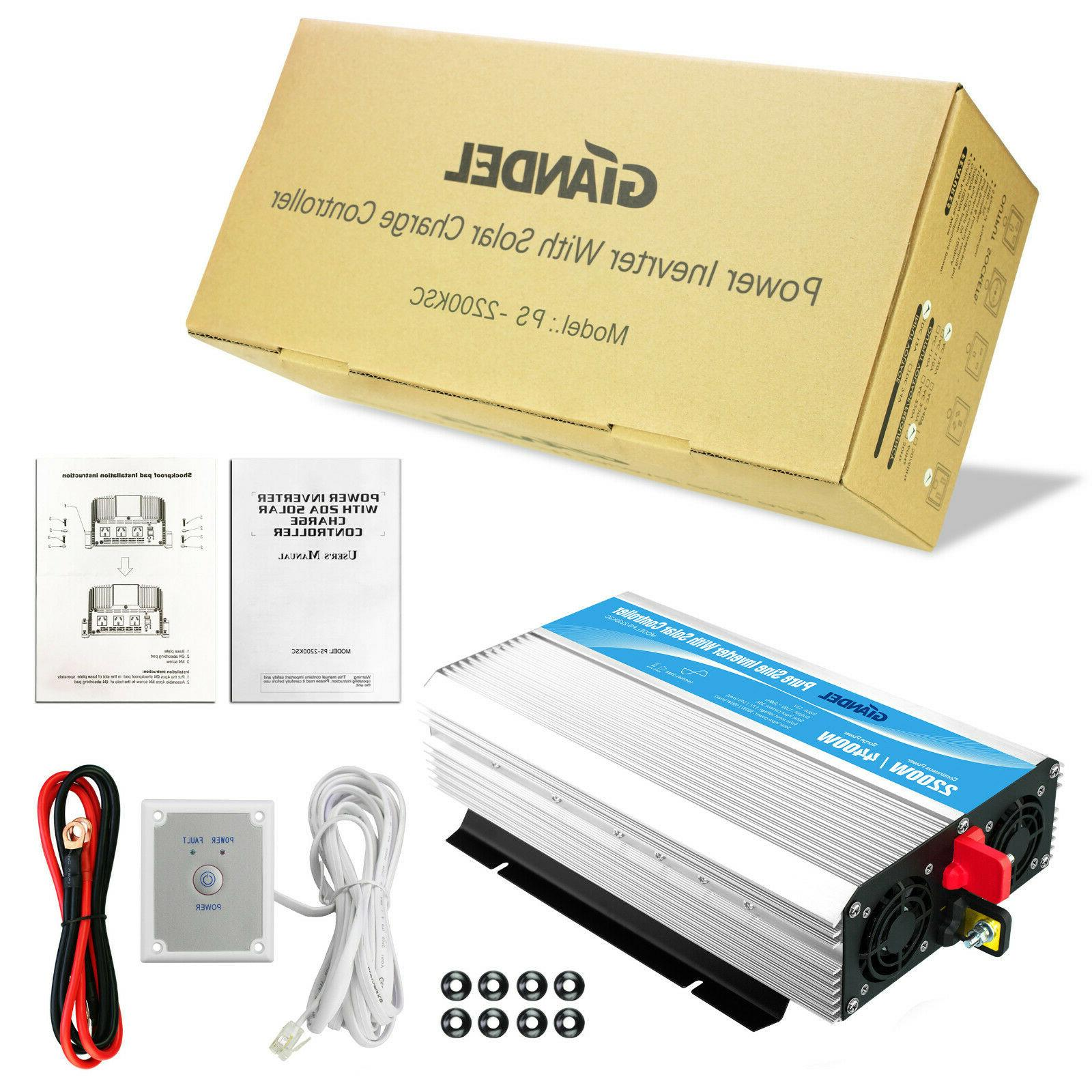 Pure Power Inverter 2200W with Solar Charge Controller