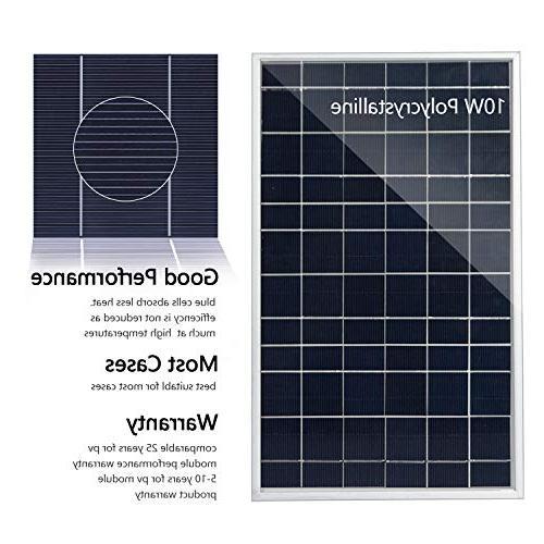 ECO-WORTHY 10W Solar W/ 3A & Battery Clips
