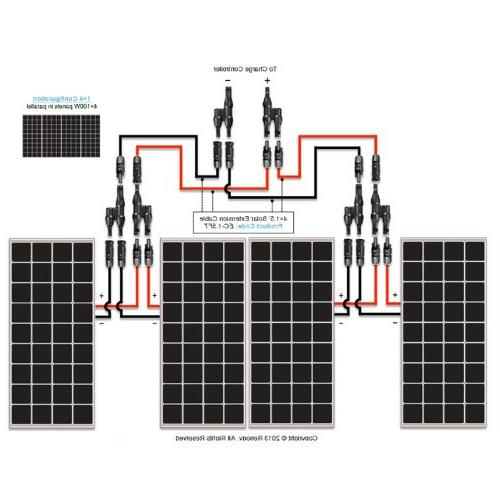 Renogy 4 Pieces Monocrystalline Photovoltaic PV Panel Module, Charging