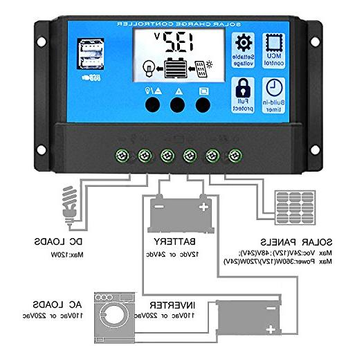 Solar Solar Battery 12V/24V PWM Auto Adjustable LCD Panel Regulator Dual USB Timer Setting ON/Off
