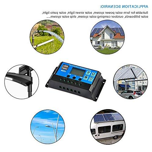 Solar Controller 30A, Solar Battery Adjustable Display Panel Regulator Dual USB Load Timer Setting ON/Off