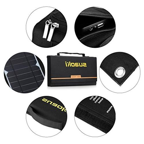 SUAOKI Solar Charger 60W Portable Solar Panel Foldable High 5V 18V DC Dual Charger for GPS iPad Other Device