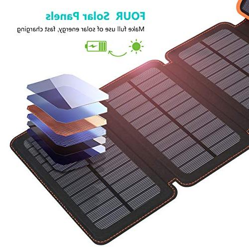 25000mAh Portable Solar Power with 2.1A Outputs Waterproof External Pack Tablets and More