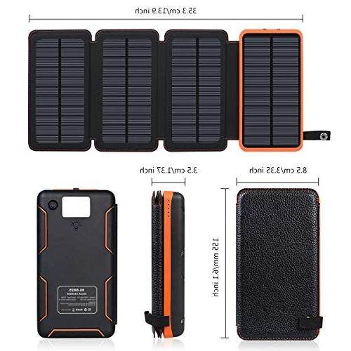 25000mAh Solar Portable with 2.1A Outputs Waterproof External Battery Compatible Most Phones, Tablets More