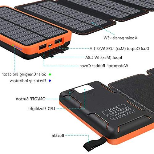 25000mAh Solar Portable Power Bank Waterproof Battery Compatible Smart Phones, Tablets and More