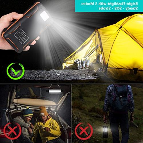 25000mAh Portable Solar with 2.1A Waterproof External Battery Compatible Most Smart Phones, Tablets More