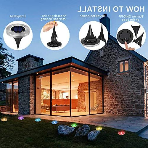 Solar Garden Lights Outdoor in-Ground Lighting 7 Stainless Pathway for Lawn Driveway Decoration