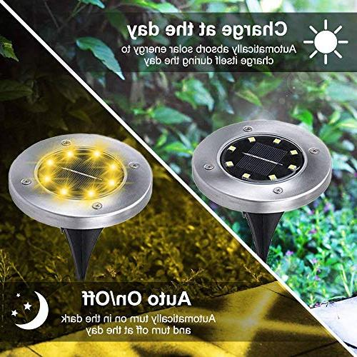Solar LED Garden Lights Outdoor Lighting 7 Stainless Steel for Yard Lawn Driveway Decoration