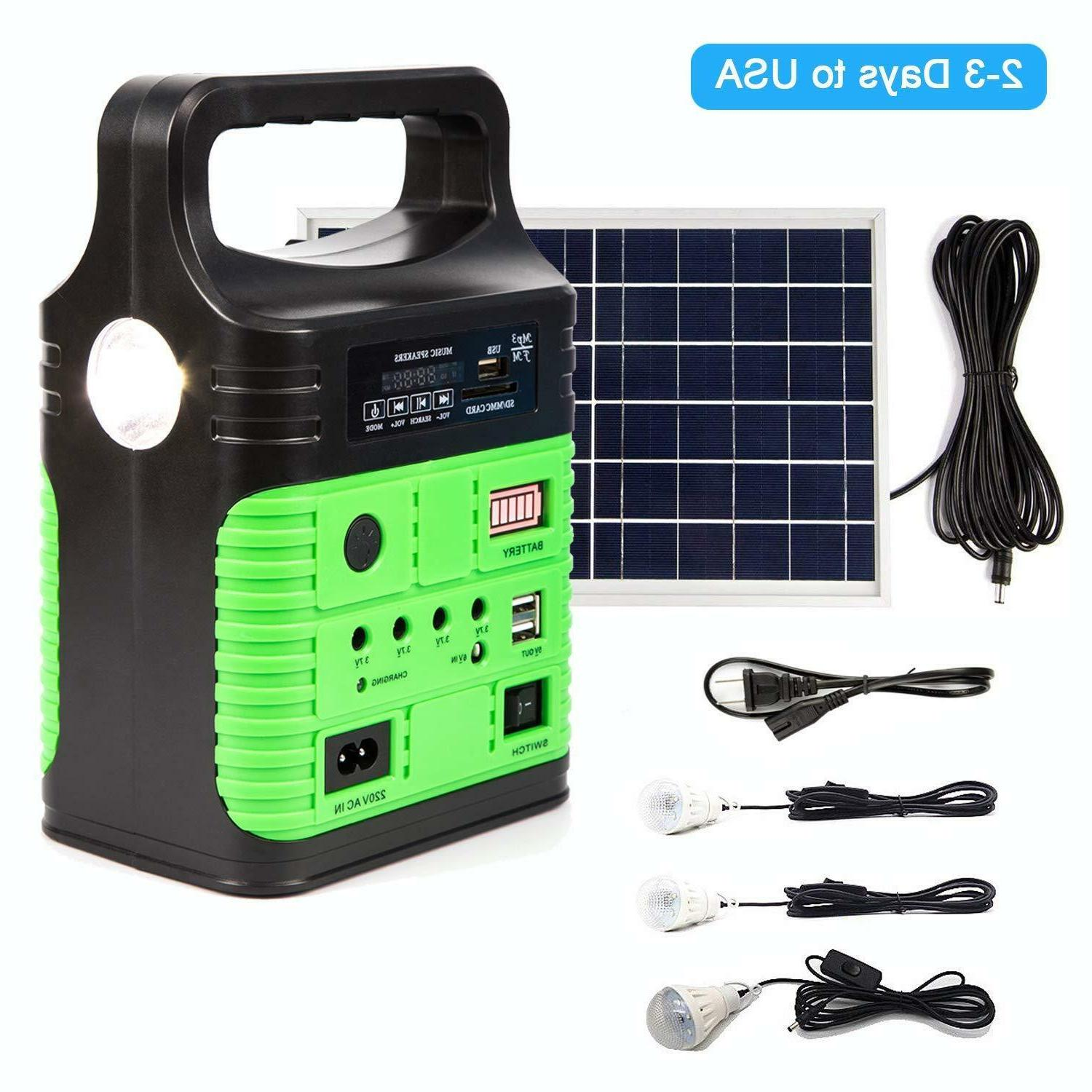 Solar Power Panel Generator LED Light USB Charger System FM