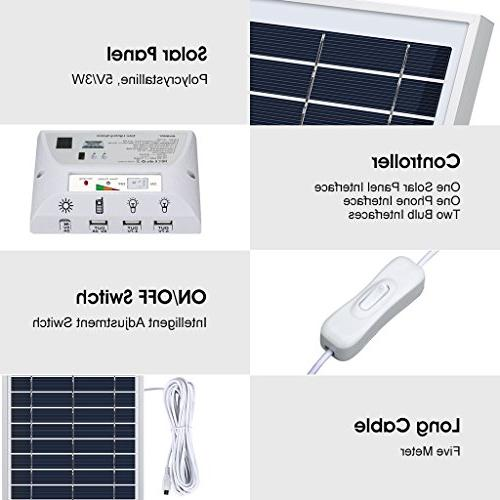 SUAOKI Solar Lighting System Portable with Panel, 2 USB Ports and USB Outdoor Camping