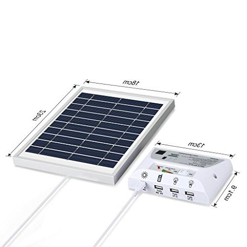Portable Light with Solar Panel, 2 LED USB Ports and USB Cable for Outdoor Garage