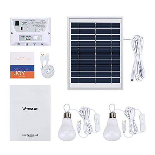 SUAOKI Solar Portable Home Light Kit with Solar 2 USB 1 USB Cable for Indoor Outdoor Camping
