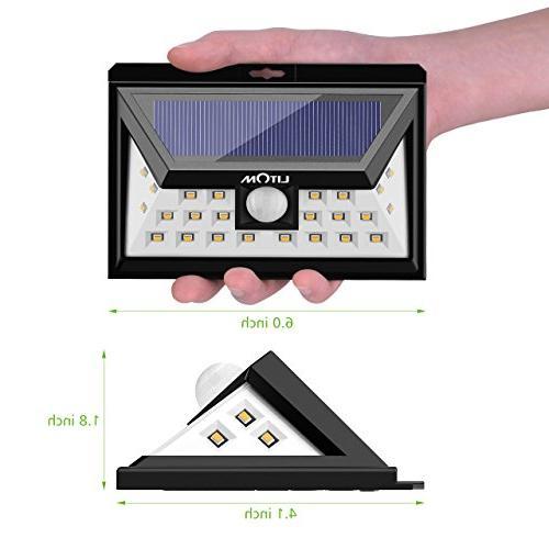 LITOM LED Motion Solar Lights Outdoor, Light Super Wide Angle Door, Yard, Garage, Porch, Shed, Walkway,