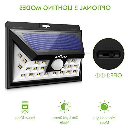 LITOM Lights, LED Sensor Solar Lights Outdoor, Super Bright Angle Security Light for Front Door, Yard, Porch, Shed, Walkway,