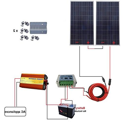 ECO-WORTHY Watt Solar Panel Kit Watt 24V-110V Pure Sine Wave Controller for RV, Boat, Off-Grid Volt Battery System
