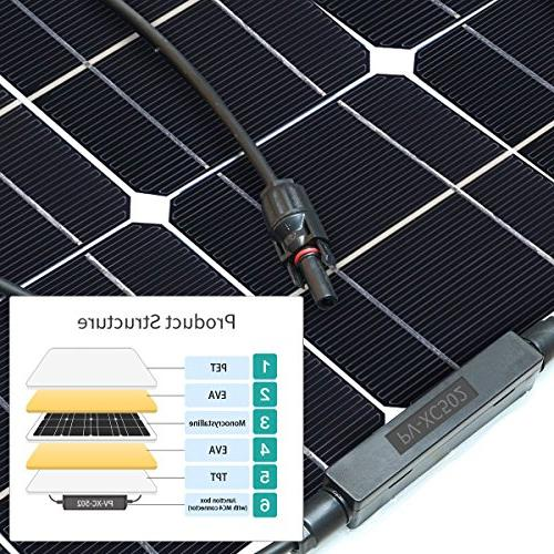 Solar GIARIDE 12V 100W High-Efficiency Monocrystalline Cell with MC4 Connectors Flexible Bendable Off-Grid Panel for Volt Camping, Boat,