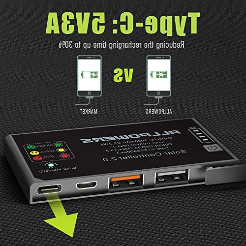 with Battery, USB Output, Solar Battery Solar Panel for Cell Phone, iPhone,Camping