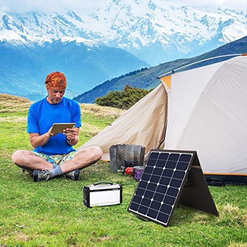 SUAOKI Solar Panel Charger Cell Portable Foldable with Dual , Laptop Connectors Laptops, Power