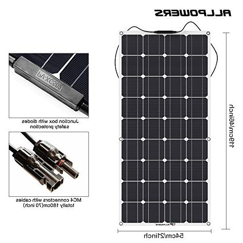 ALLPOWERS 18V Solar Lightweight Flexible with Connector Charging for Boat Tent Car