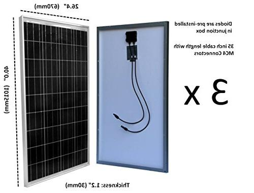 WindyNation Solar Panel P30L + + MC4 Connectors + Mounting Brackets for RV, Cabin, Off-Grid 12