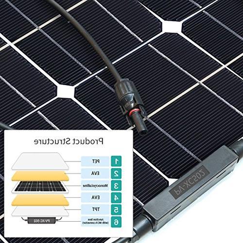 GIARIDE 50W 18V Solar Panel Monocrystalline Cell Flexible Off-Grid Solar Power Charger for RV, Boat, Caravans, and 12V Battery Charging