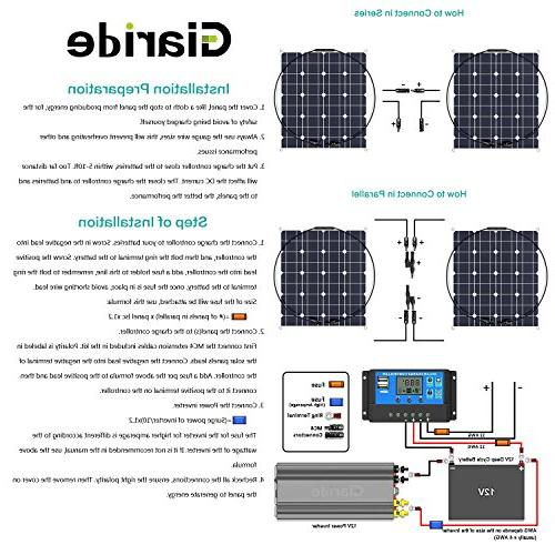 GIARIDE 50W Solar Cell Flexible Bendable Lightweight Off-Grid Solar Charger RV, Camping, Boat, Caravans, Motorhome 12V Charging