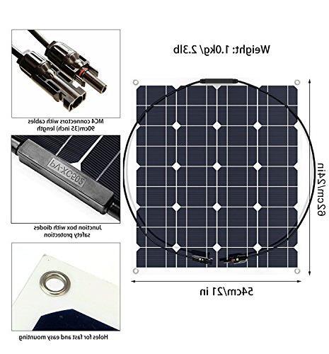 GIARIDE 18V 12V Solar Monocrystalline Flexible Waterproof Off-Grid Solar System Charger for Boat, Caravans, 12V
