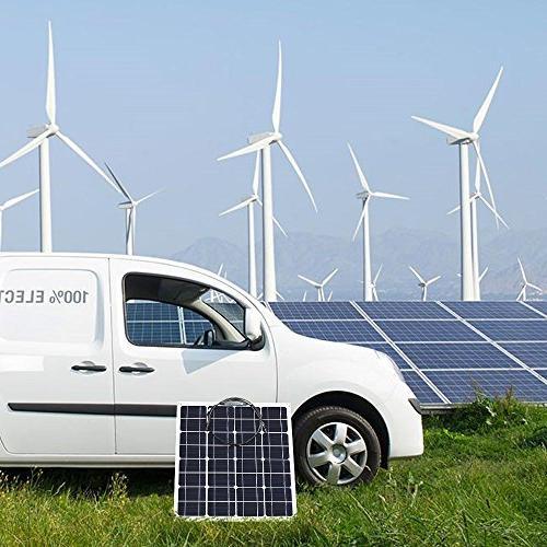 GIARIDE Solar Panel Monocrystalline Cell Flexible Off-Grid Solar Power Charger Camping, Boat, 12V Battery