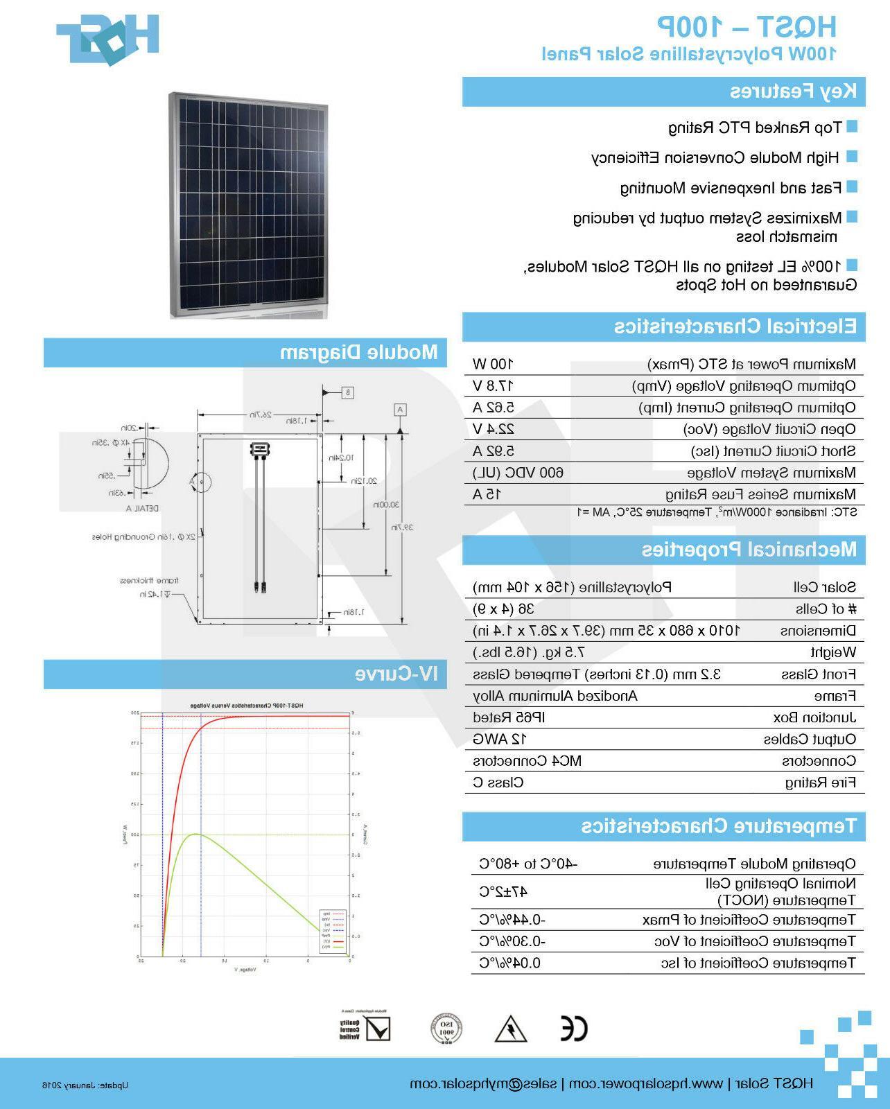 NEW Solar 100 Poly Kit 12V 100W Off Grid