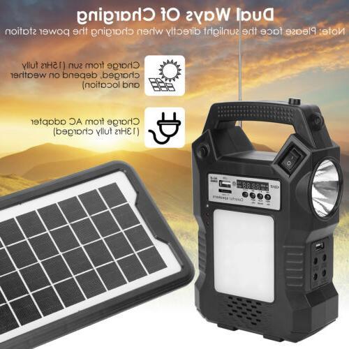 Solar Panel Kit Battery Pack Power Station w/ Bulbs