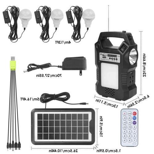 Solar Panel Power Generator Kit Battery Pack Power Bulbs