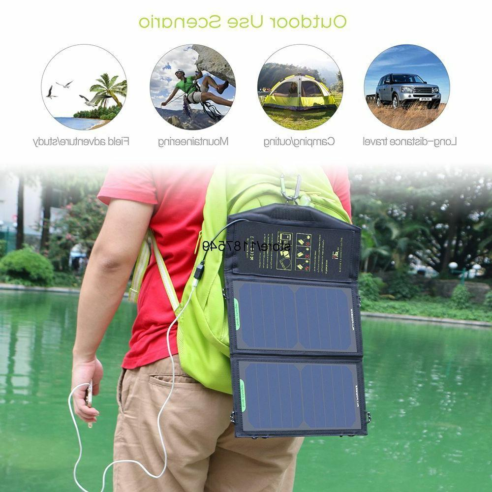 Solar Panels Charger Portable Phone Hiking Outdoors