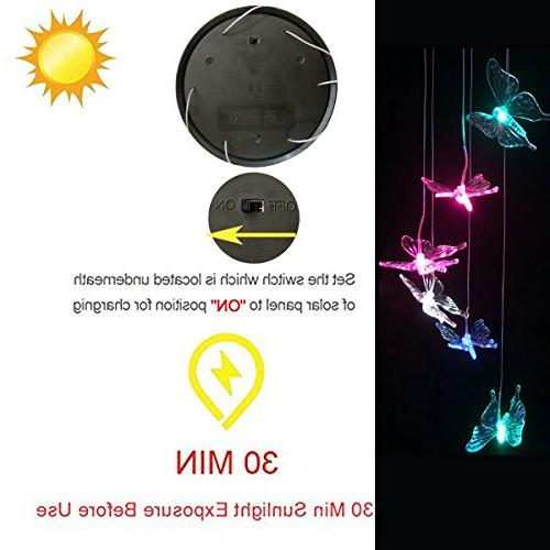 LED Wind - Outdoor Powered LED Changing Color Mobile Wind Chimes For Decor,Valentines Garden Decoration