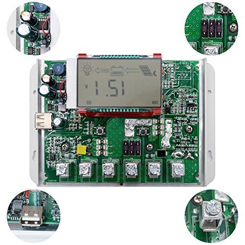 SolarEnz Solar Charge Controller Solar Panel Battery Regulator USB Port LCD 12V/24V Auto -Negative Solar Charge Sealed