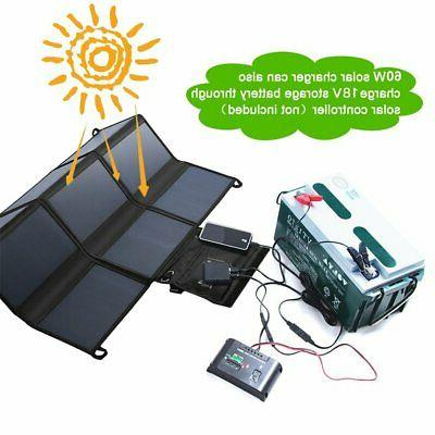 Waterproof Foldable 18V 60W Solar for Laptop Tablet US
