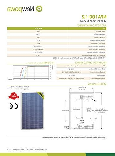 Newpowa Piece 100W Polycrystalline Photovoltaic PV Solar Panel Charging