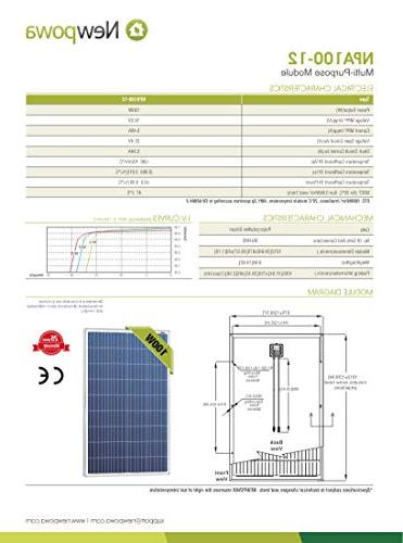 Newpowa 100 12 Volts Polycrystalline Panel 100W High Module Off Grid