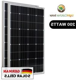 LCS Solar Panel 200 Watts 2pcs 100W Monocrystalline 12 Volt