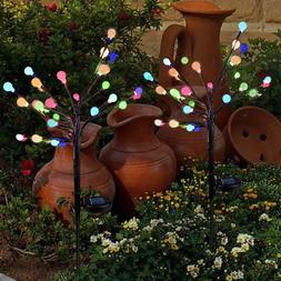 led solar panels garden stake colorful lights