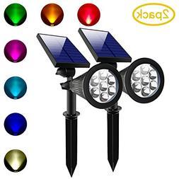 Lepord 2 SETS 7 LED Solar Spotlights Outdoor Solar Lights Wa