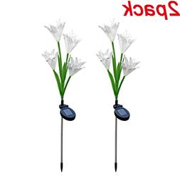2 PC Lily Solar Garden Pile Light Artificial Flower LED Ligh