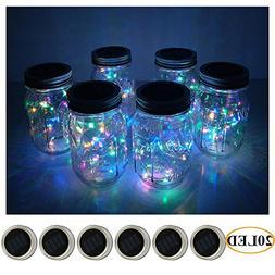 6 Pack Mason Jar Lights 20 LED Solar Colorful Fairy String L