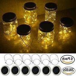 Decem Mason Jar Solar Lights, 6 Pack 20 LED Fairy Star Firef