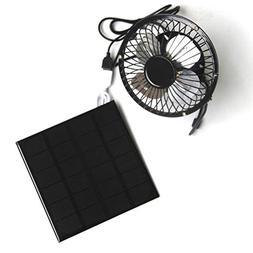 YOEDAF 3W 6V Mini Solar Panel Ventilation Cooling Fan 4-inch