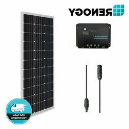 Renogy 100W 12V Mono Solar Panel 30A Controller Bundle Kit O