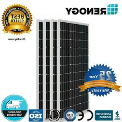 Renogy 4 Piece 100W Monocrystalline Photovoltaic PV Solar Pa