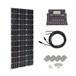 HQST 100 Watts 12 Volts Monocrystalline Slim Solar Panel Off