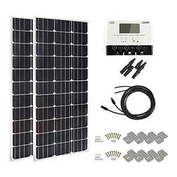 HQST 200 Watt 12 Volt Monocrystalline Slim Solar Panel Kit w
