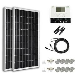 HQST 200 Watt 12 Volt Monocrystalline Solar Panel Kit with 3